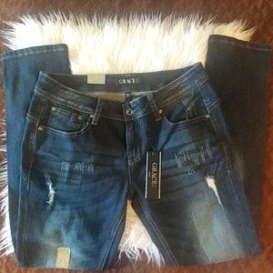 Grace In L.A dark wash distressed NWT jeans